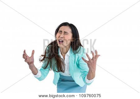 Angry yelling businesswoman against white background