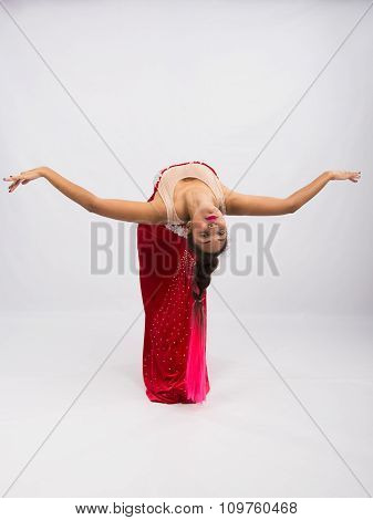 Girl Dancer Performs A Dance Elements