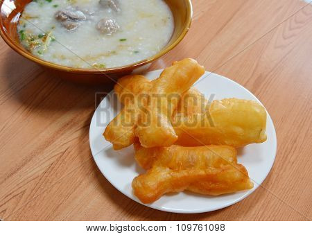 deep-fried dough stick and rice porridge