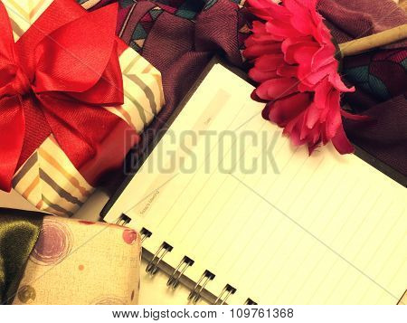 Empty Notebook With Decorate With Gift Box And Flower Vintage Retro Filter