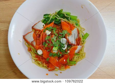 Chinese noodle topping slice barbeque pork and dressing sweet red sauce