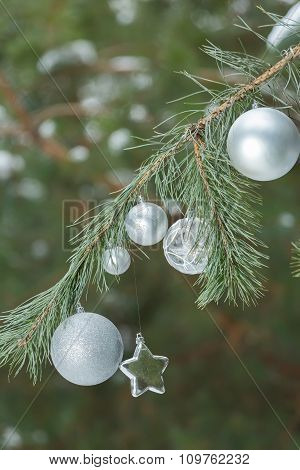Snowy pine green branches with Christmas ornaments of baubles and star