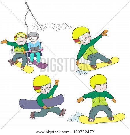 Kids riding snowboard