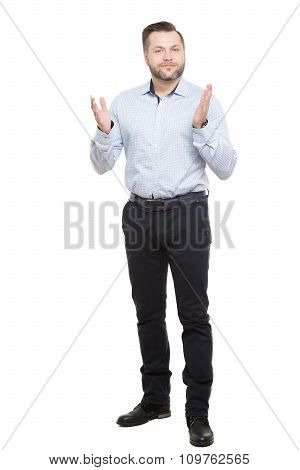 adult male with a beard. isolated on white background. open posture. foot forward at him. open palms