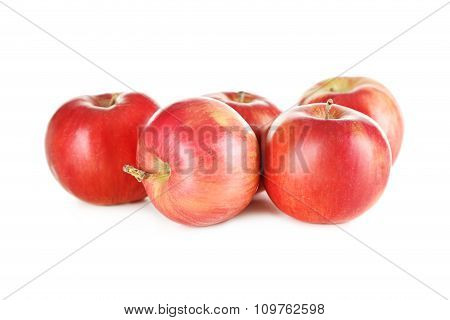 Fresh Red Apples Isolated On A White