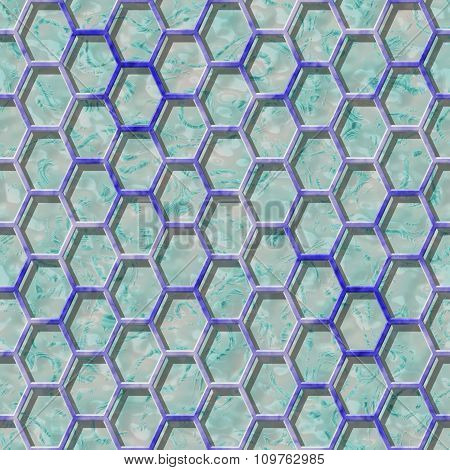 Abstract decorative grille - blue pattern