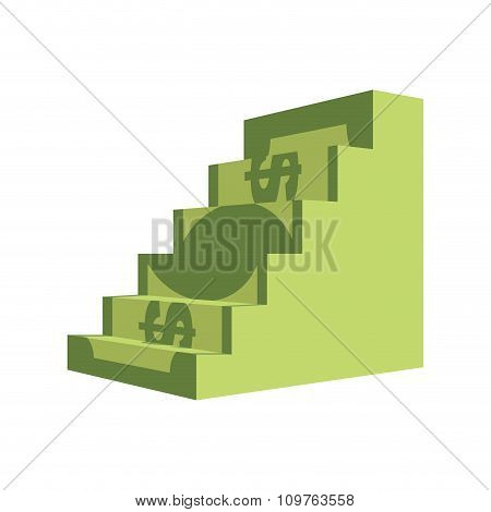Dollar Ladder. Steps Out Of  Money. Ascent To Wealth. Business Illustration Chart Money Income Growt