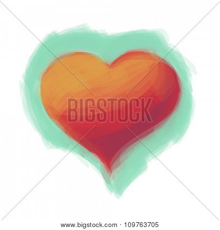 Red drawn Love Heart Valentine postcard