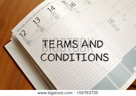 Terms And Conditions Write On Notebook