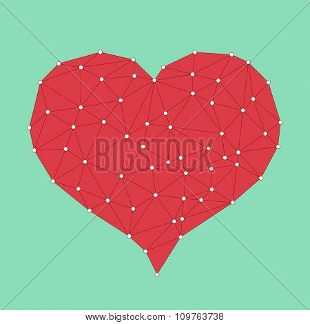 Red low poly Love Heart postcard