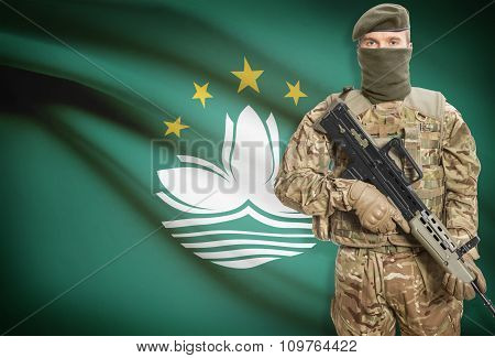 Soldier Holding Machine Gun With Flag On Background Series - Macau