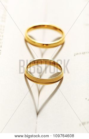 Golden Wedding Rings On The Book, Close Up