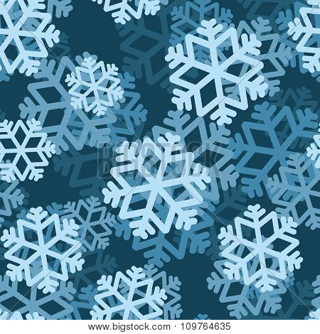 Snowflake Seamless Pattern. Volumetric Snowfall From  Blue Snowflake. Texture For Winter Holidays Of