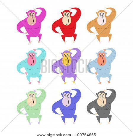 Set Of Colored Monkeys. Funny Gorilla. Cute Primacy Of Different Colors. Wild Animal From Jungle.