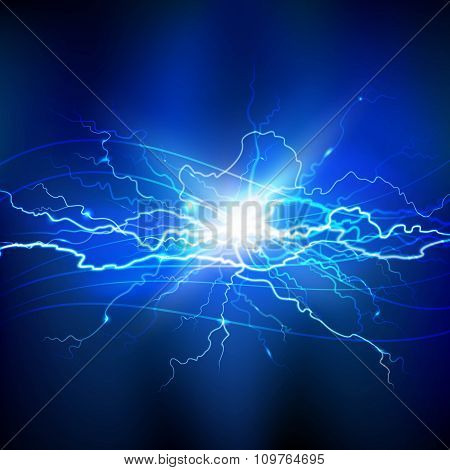 Blue Lightning Background