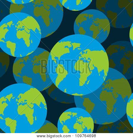 Earth Seamless Pattern. 3D Background Of Sign Of Globe. Texture Of World Globe Map.