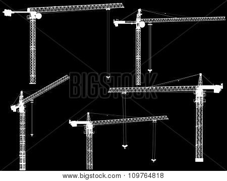 illustration with set of cranes isolated on black background