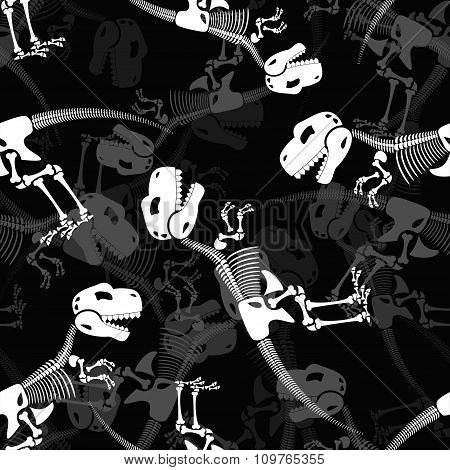 Dinosaur Skeleton 3D Background. Seamless Pattern Of Bone And Skull T-rex. Dead Tyrannosaurus Orname