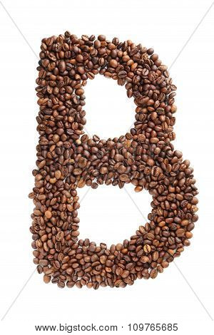 Coffee Beans Letter Isolated On A White