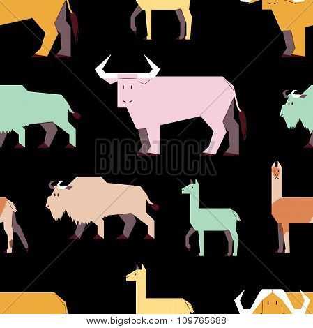 hoofed animals pattern, dark background