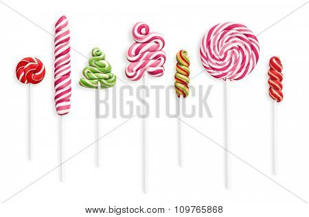 Set of colored sweets with shadow isolated on white