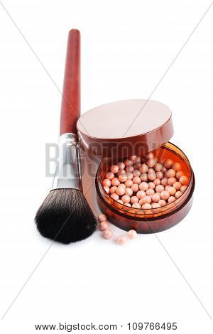 Powder In Box With Brush Isolated On A White