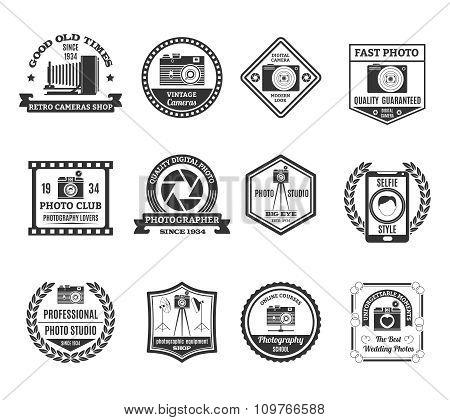 Photography Black White Emblems Set