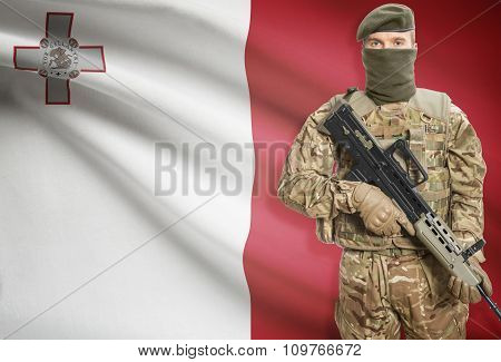 Soldier Holding Machine Gun With Flag On Background Series - Malta