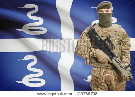 Soldier Holding Machine Gun With Flag On Background Series - Martinique