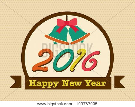 Elegant greeting card design with Jingle Bells and colorful text 2016 for Happy New Year celebration.