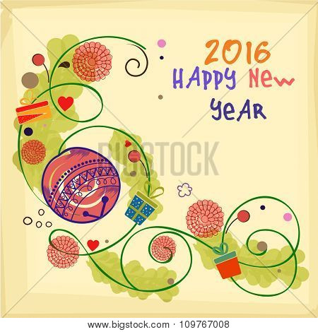 Beautiful floral design decorated greeting card for Happy New Year 2016 celebration.