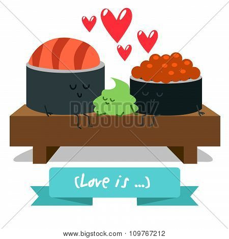 Funny characters. Japanese food. Postcard Valentine's Day. Illustration with funny characters. Love