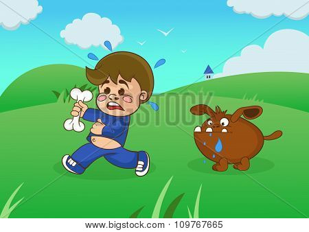 Cartoon Boy Running Away From A Starving Dog.