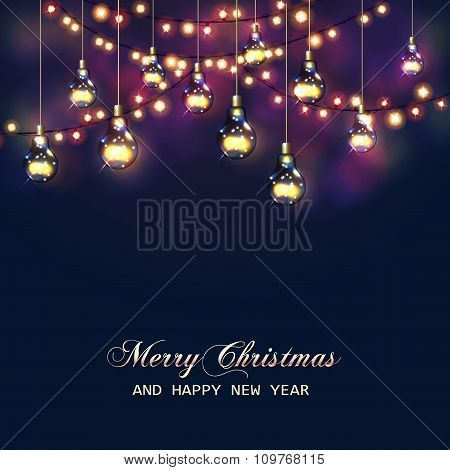 Christmas card with festive garland lights and light bulbs. Vector illustration