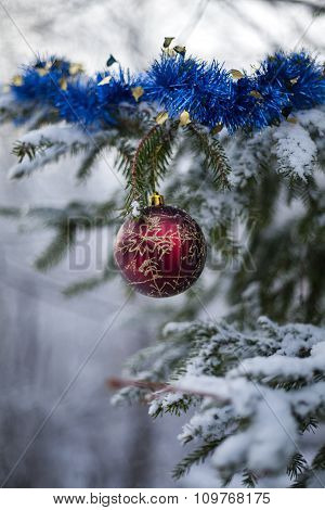 Decorations On The Christmas Tree Outdoor