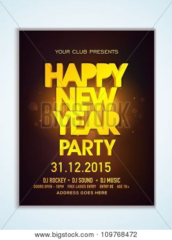 Creative golden text Happy New Year on shiny brown background, can be used as Flyer, Banner or Pamphlet design.