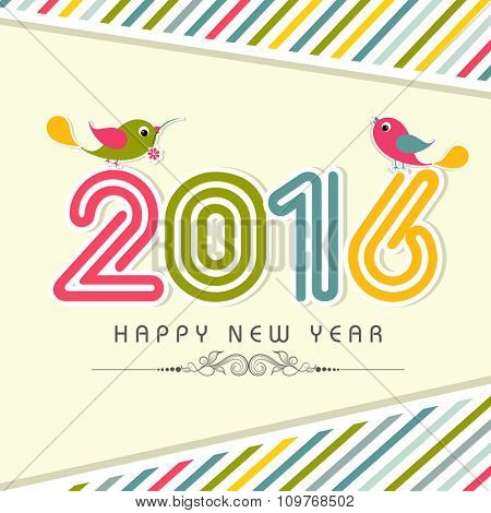 Elegant greeting card design with colorful text 2016 and cute birds on stylish background for Happy New Year celebration.