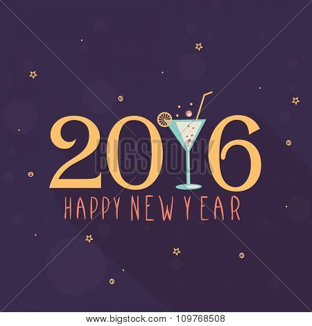 Elegant greeting card design with stylish text 2016 and juice glass for Happy New Year celebration.
