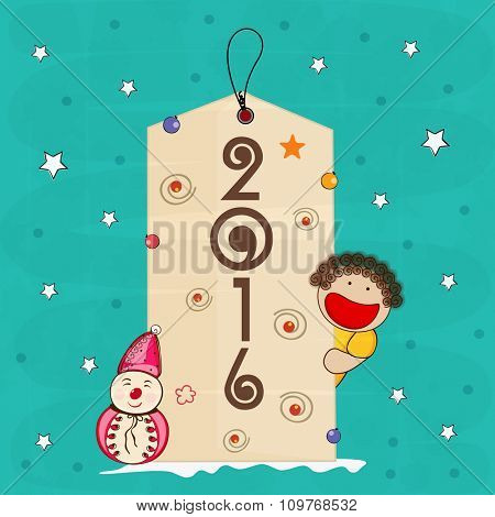 Creative hang tag with cute little boy on stars decorated background for Happy New Year 2016 celebration.