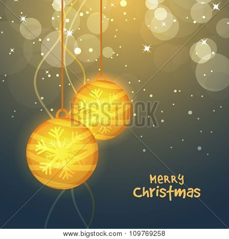 Elegant greeting card design with creative hanging Xmas Balls on shiny background for Merry Christmas celebration.
