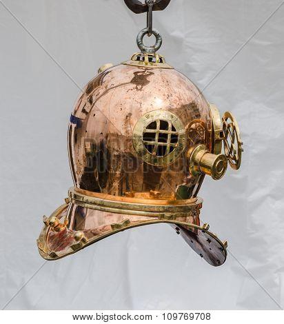 Copper Old Diving Helmet, Close-up