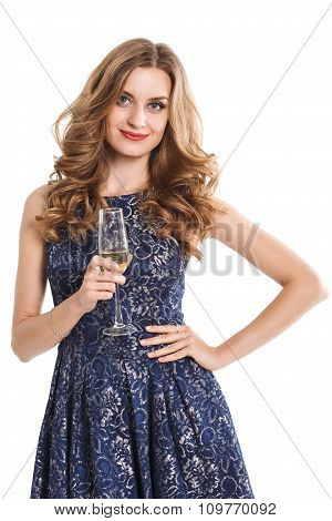 beautiful girl in a dress with red lips and  glass of champagne