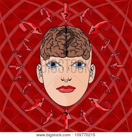 Concept Of Addressing Issues In Women's Head. Vector