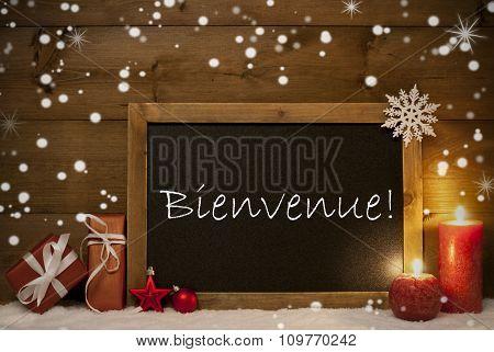 Christmas Card, Blackboard, Snowflakes, Bienvenue Mean Welcome