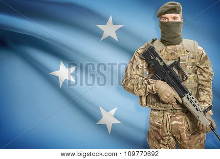 Soldier Holding Machine Gun With Flag On Background Series - Micronesia