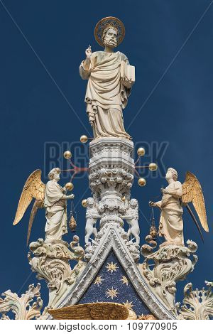 Sculpture Of Angels And Saint At Doge Palace, Venice, Italy