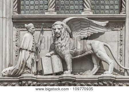 Sculpture Of Winged  Lion Of Venice With Priest And Book, Venice, Italy