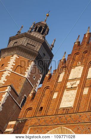 Poland, Kraków, Kazimierz, Bell Tower And West  End Of Corpus Christi Gothic Church