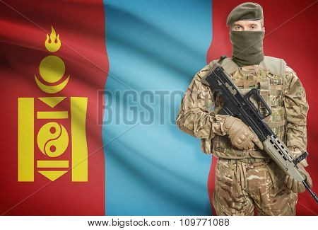 Soldier Holding Machine Gun With Flag On Background Series - Mongolia