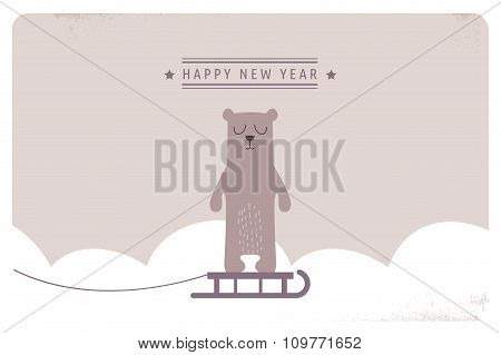 cute happy new year greeting card design.